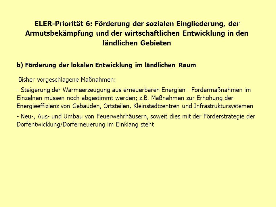 ELER-Priorität 6: Förderung der sozialen Eingliederung, der Armutsbekämpfung und der wirtschaftlichen Entwicklung in den ländlichen Gebieten