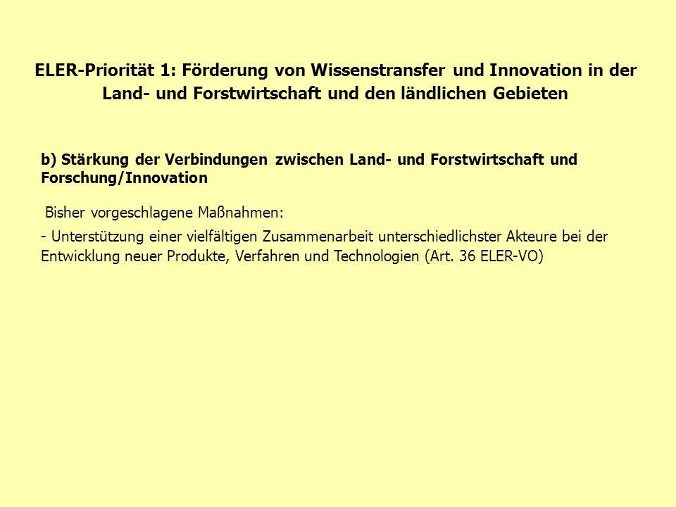 ELER-Priorität 1: Förderung von Wissenstransfer und Innovation in der Land- und Forstwirtschaft und den ländlichen Gebieten