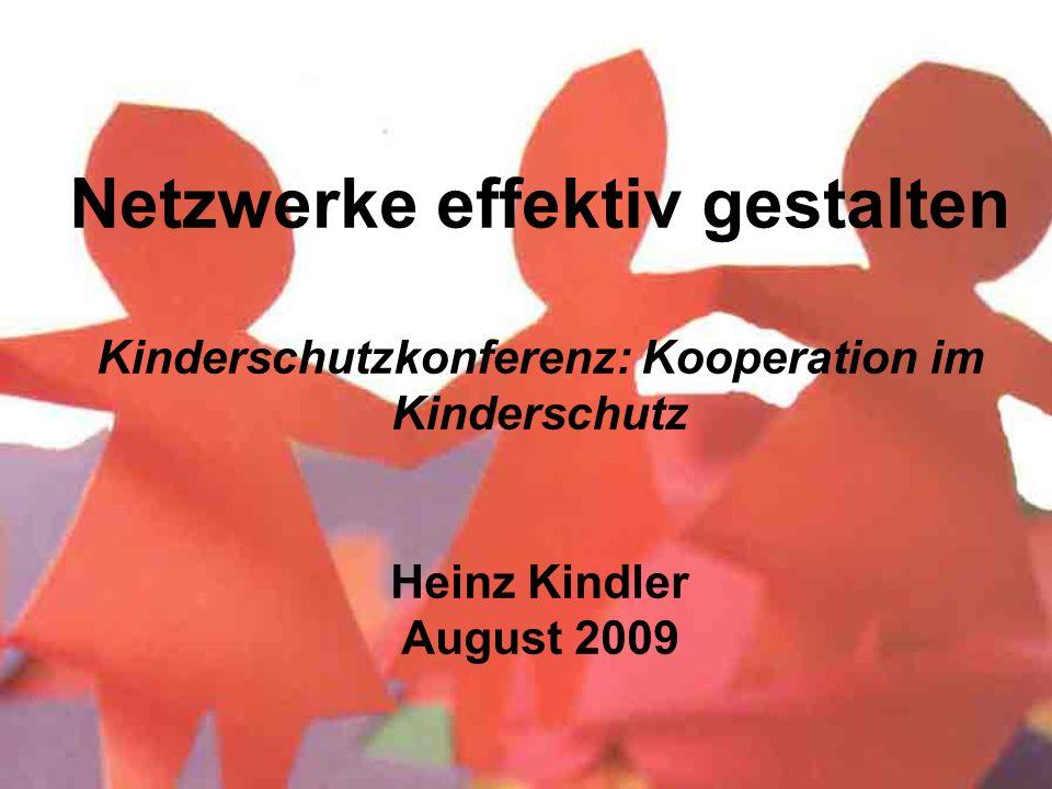 Netzwerke effektiv gestalten Kinderschutzkonferenz: Kooperation im Kinderschutz Heinz Kindler August 2009