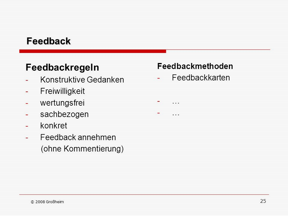 Feedback Feedbackregeln Feedbackmethoden Feedbackkarten