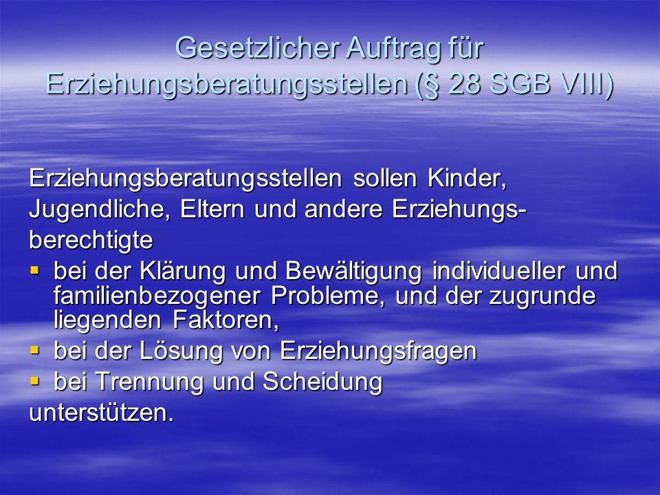 Gesetzlicher Auftrag für Erziehungsberatungsstellen (§ 28 SGB VIII)
