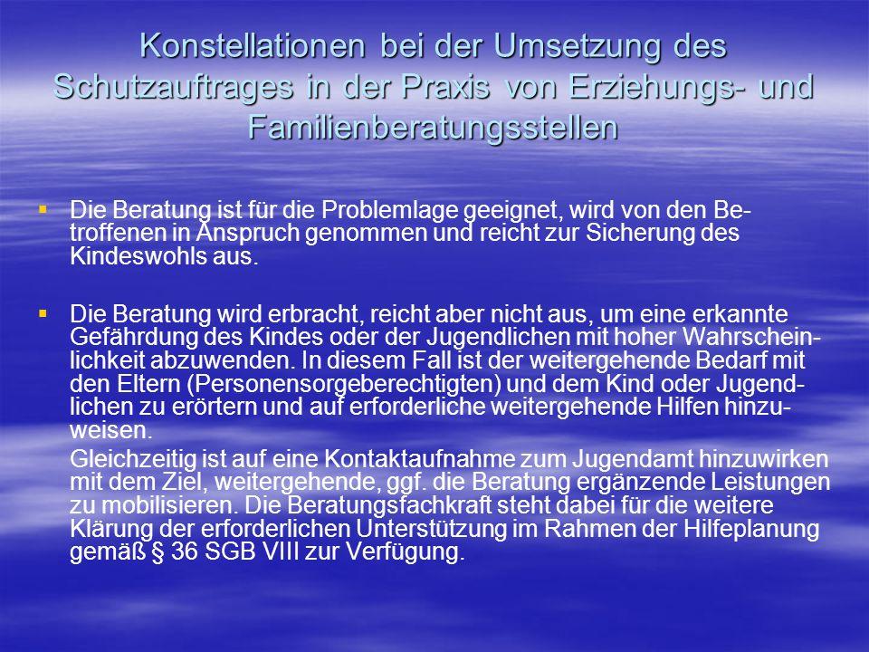 Konstellationen bei der Umsetzung des Schutzauftrages in der Praxis von Erziehungs- und Familienberatungsstellen