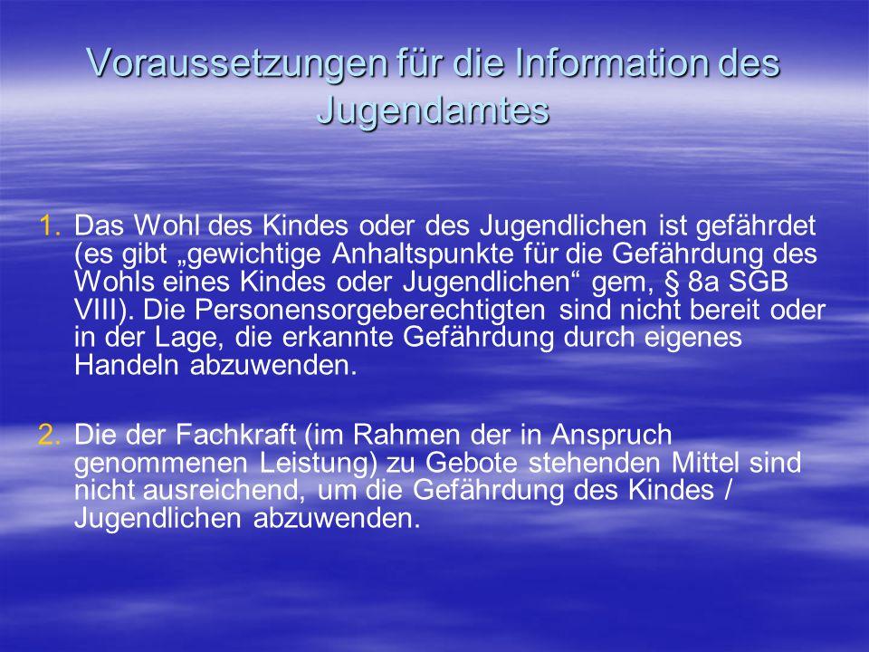 Voraussetzungen für die Information des Jugendamtes