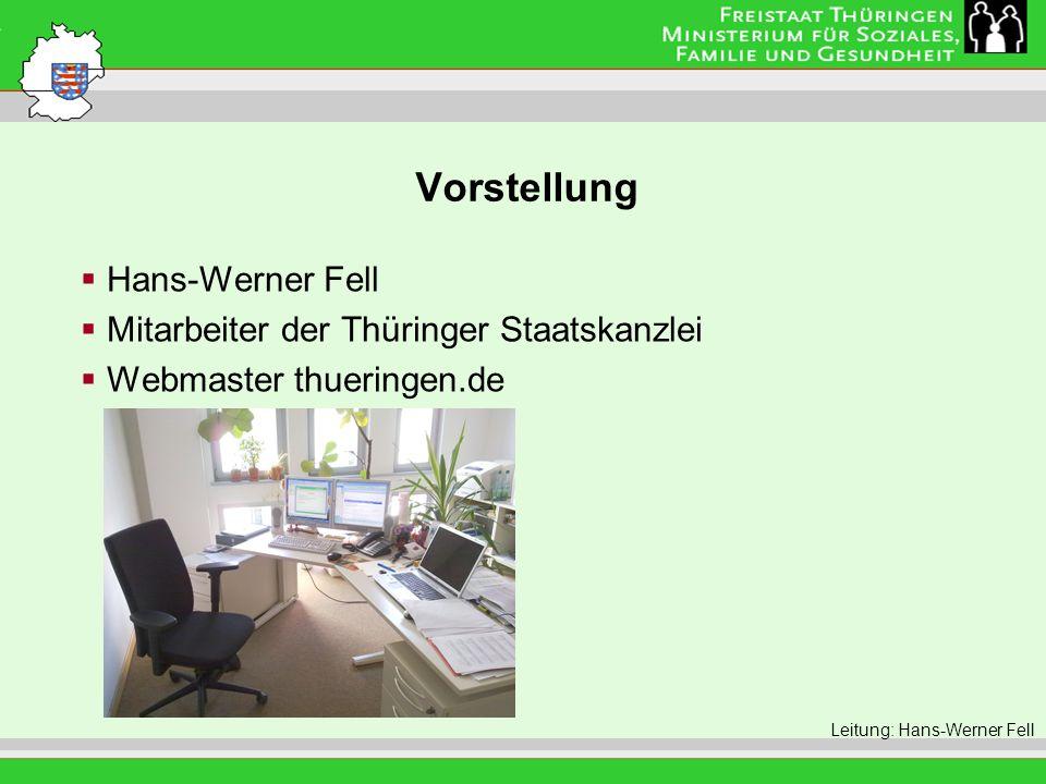 Vorstellung Hans-Werner Fell Mitarbeiter der Thüringer Staatskanzlei