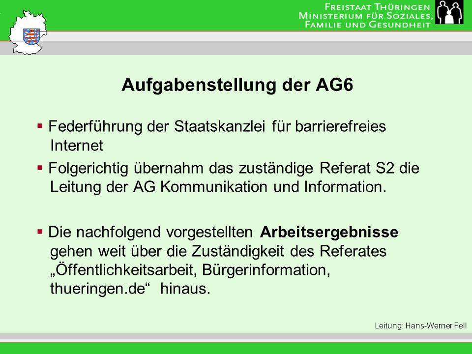 Aufgabenstellung der AG6