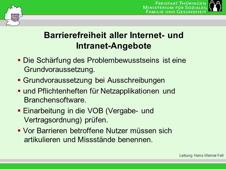 Barrierefreiheit aller Internet- und Intranet-Angebote