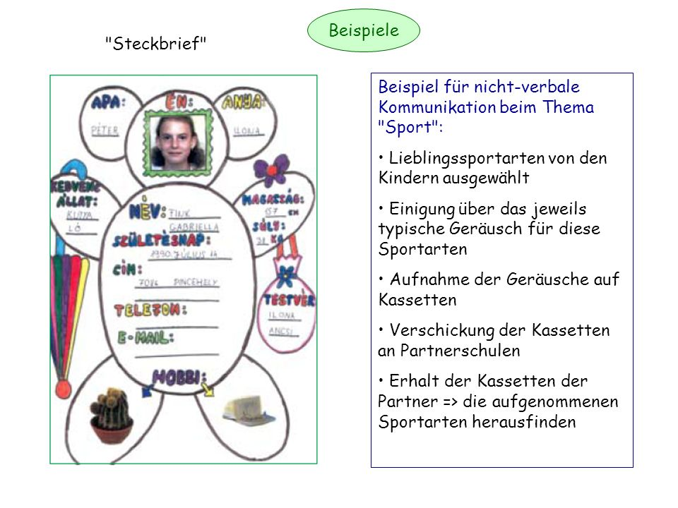 Beispiele Steckbrief Beispiel für nicht-verbale Kommunikation beim Thema Sport : Lieblingssportarten von den Kindern ausgewählt.