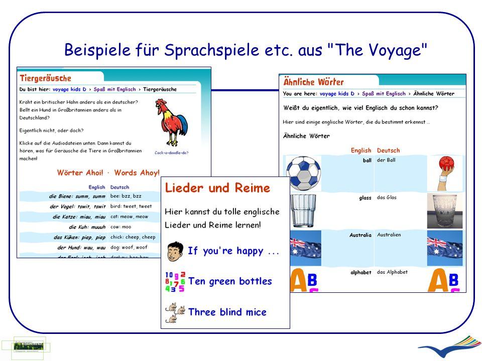 Beispiele für Sprachspiele etc. aus The Voyage