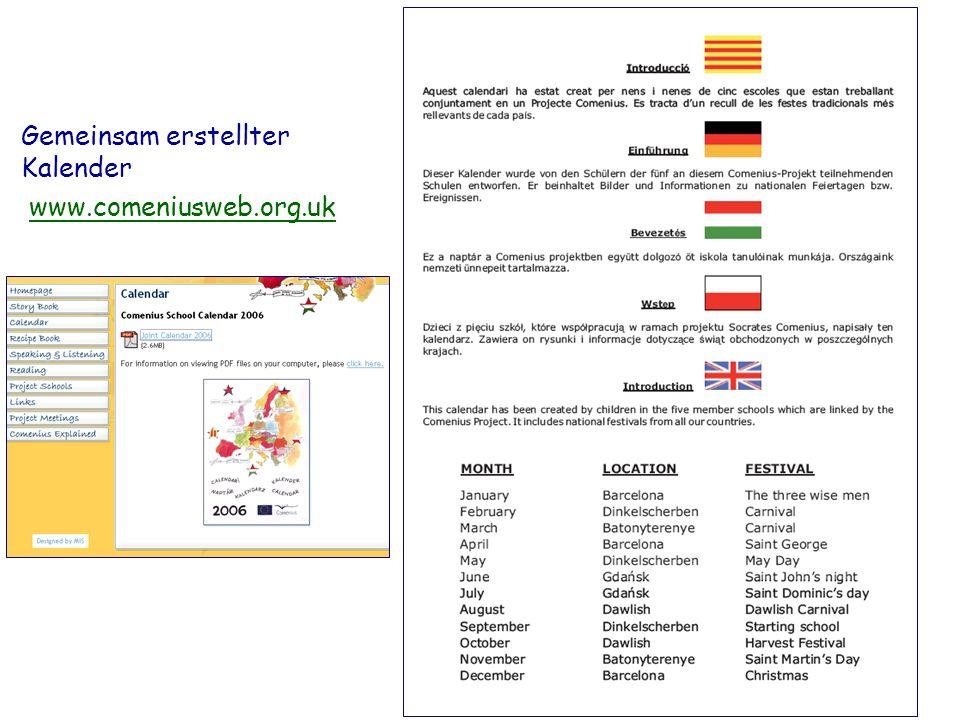 Gemeinsam erstellter Kalender www.comeniusweb.org.uk