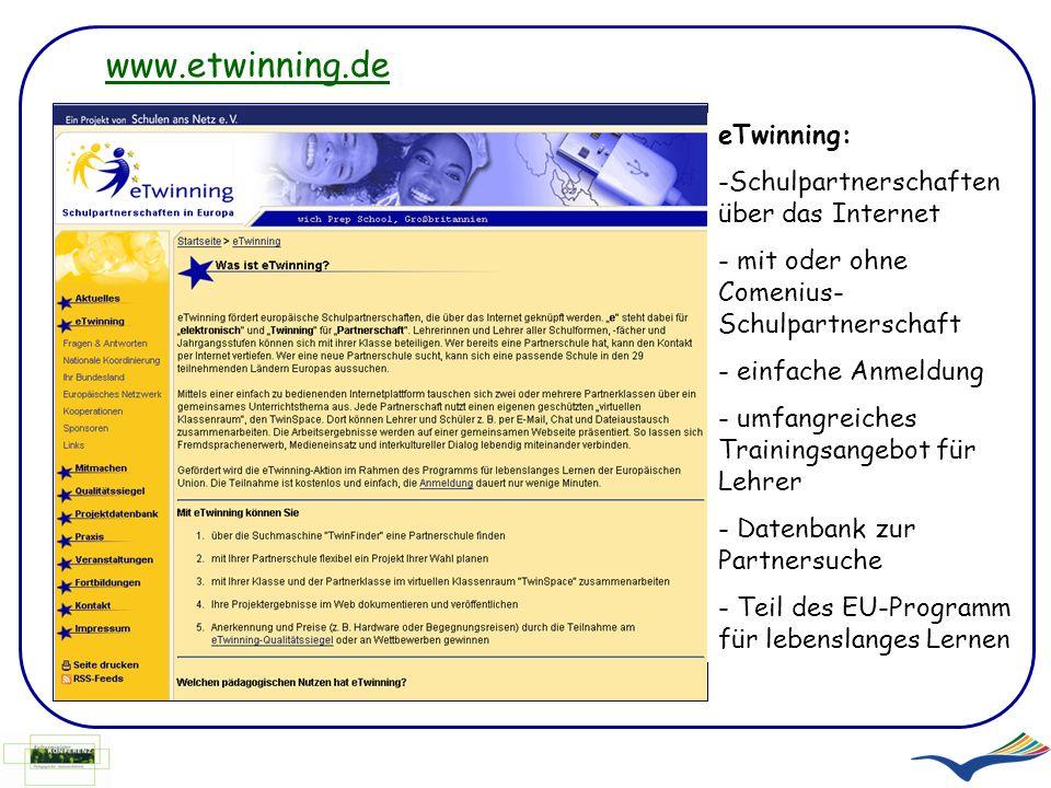 www.etwinning.de eTwinning: Schulpartnerschaften über das Internet