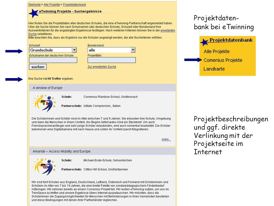 Projektdaten- bank bei eTwinning