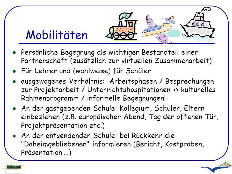 Mobilitäten Persönliche Begegnung als wichtiger Bestandteil einer Partnerschaft (zusätzlich zur virtuellen Zusammenarbeit)