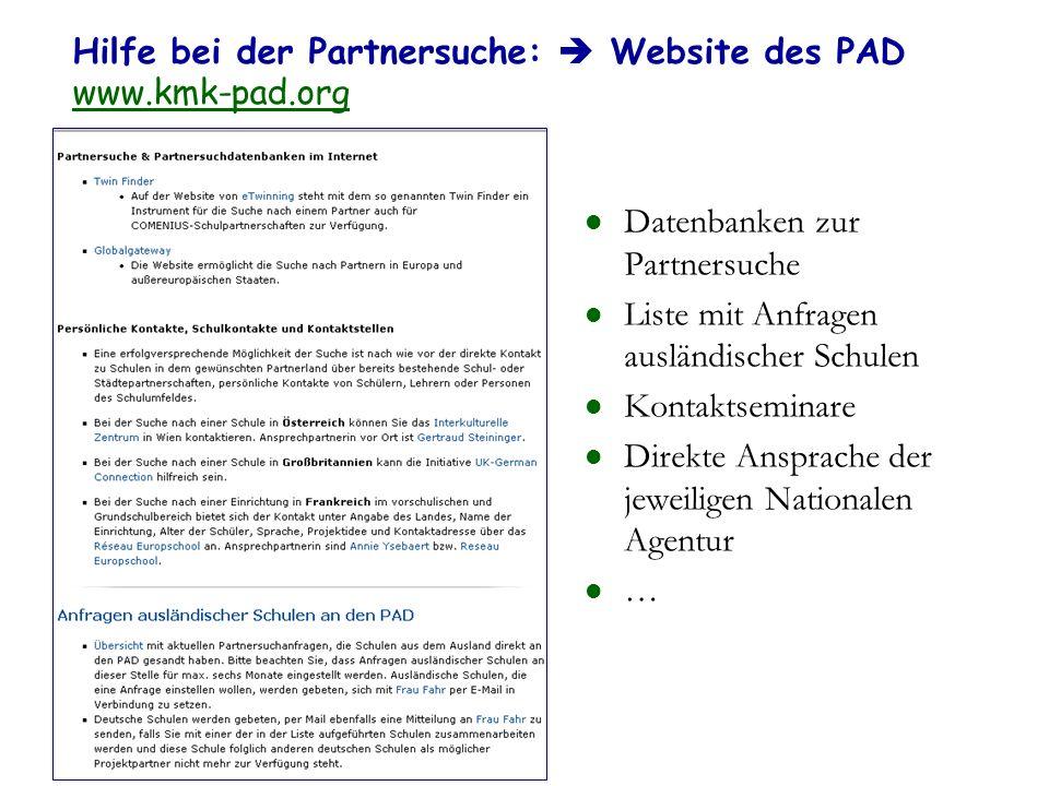 Hilfe bei der Partnersuche:  Website des PAD www.kmk-pad.org