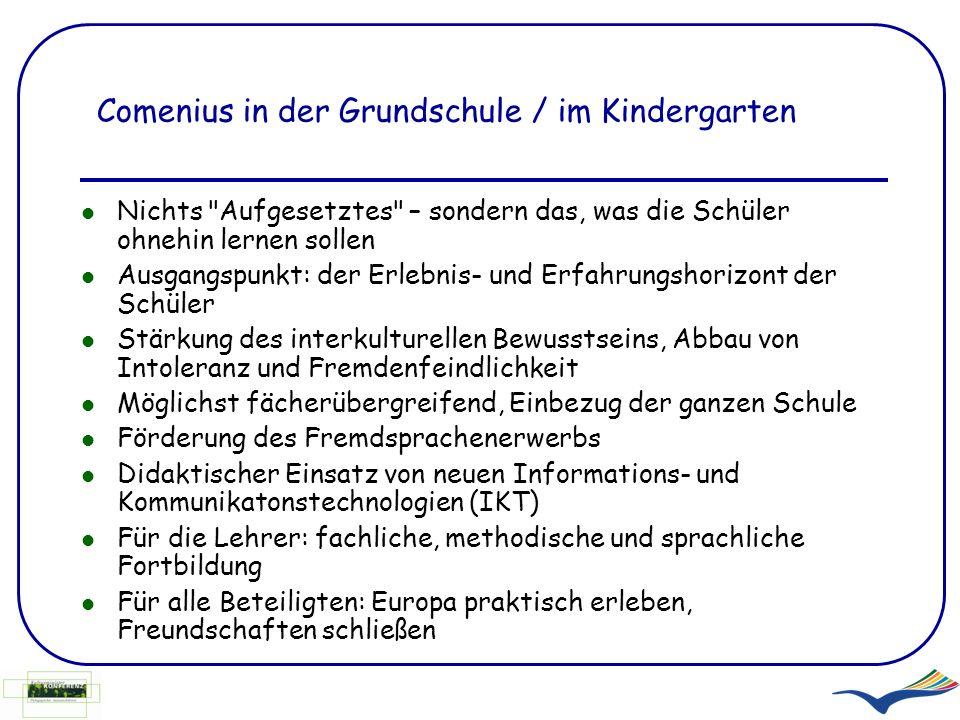 Comenius in der Grundschule / im Kindergarten