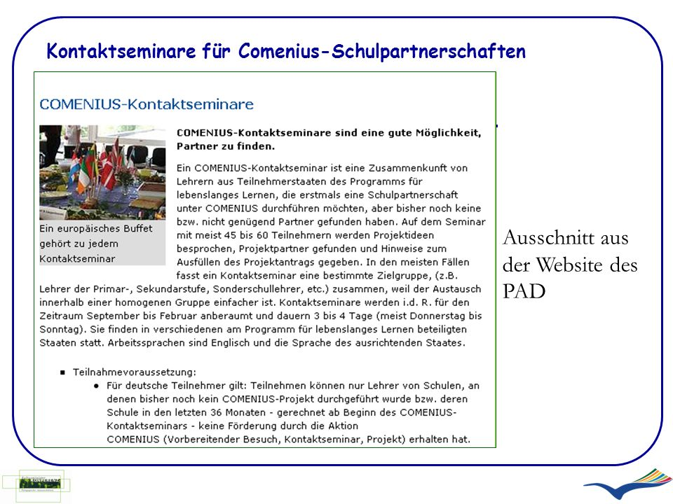 Kontaktseminare für Comenius-Schulpartnerschaften