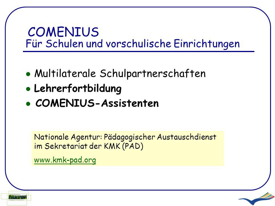 COMENIUS Für Schulen und vorschulische Einrichtungen