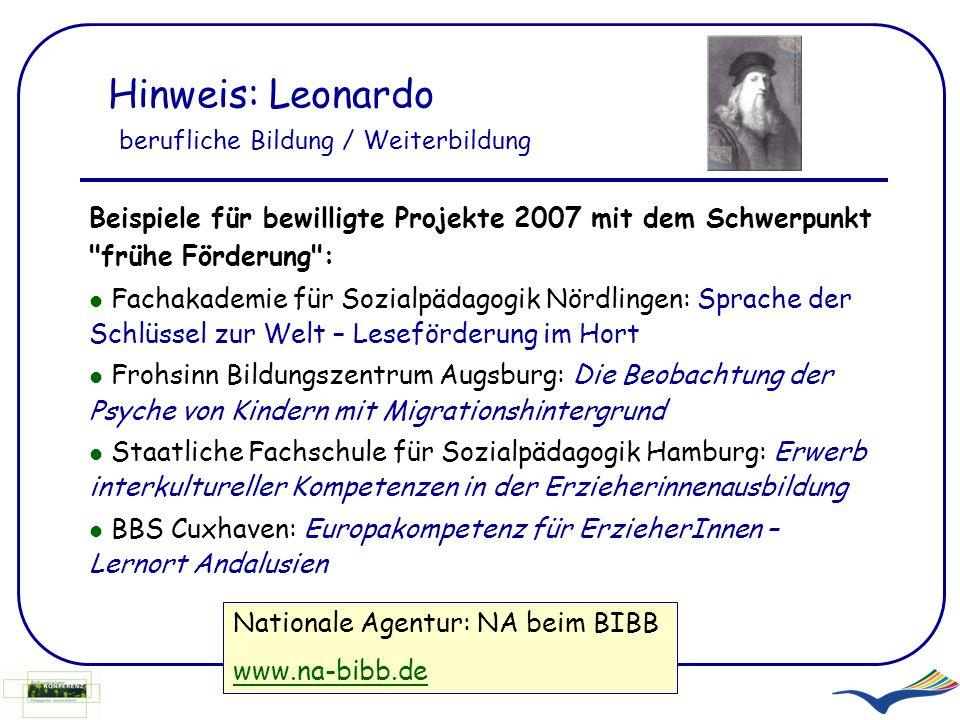 Hinweis: Leonardo berufliche Bildung / Weiterbildung