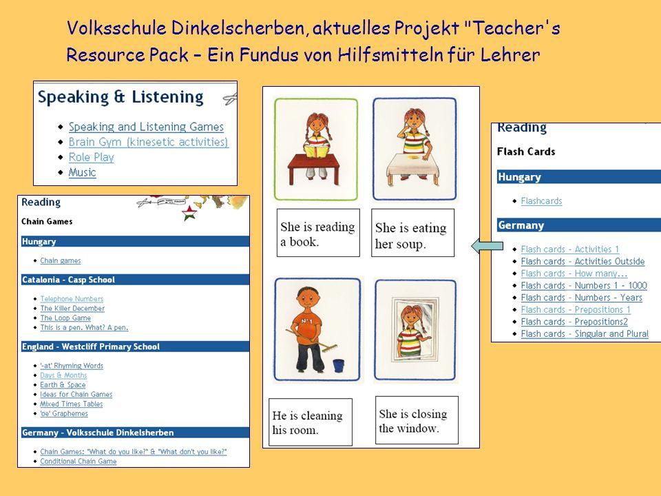 Volksschule Dinkelscherben, aktuelles Projekt Teacher s Resource Pack – Ein Fundus von Hilfsmitteln für Lehrer