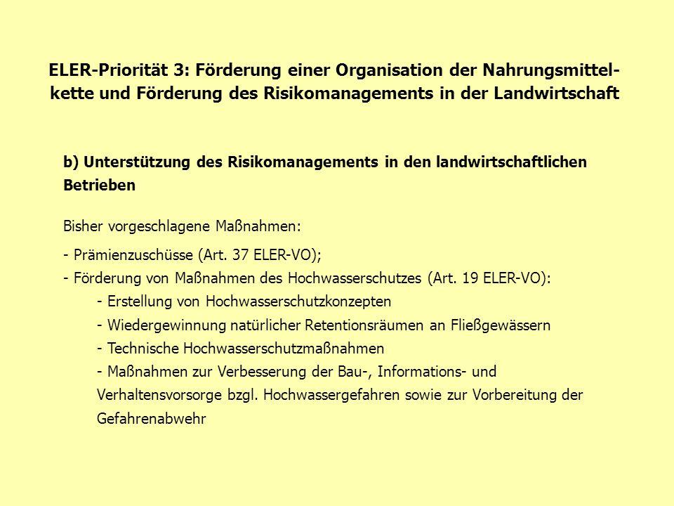ELER-Priorität 3: Förderung einer Organisation der Nahrungsmittel-kette und Förderung des Risikomanagements in der Landwirtschaft