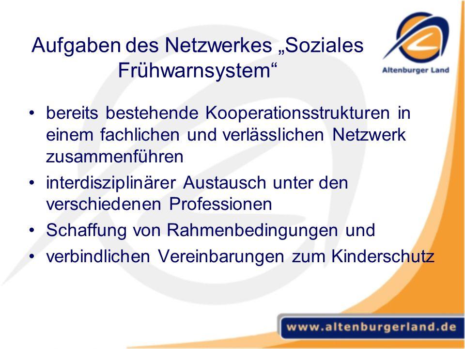 """Aufgaben des Netzwerkes """"Soziales Frühwarnsystem"""