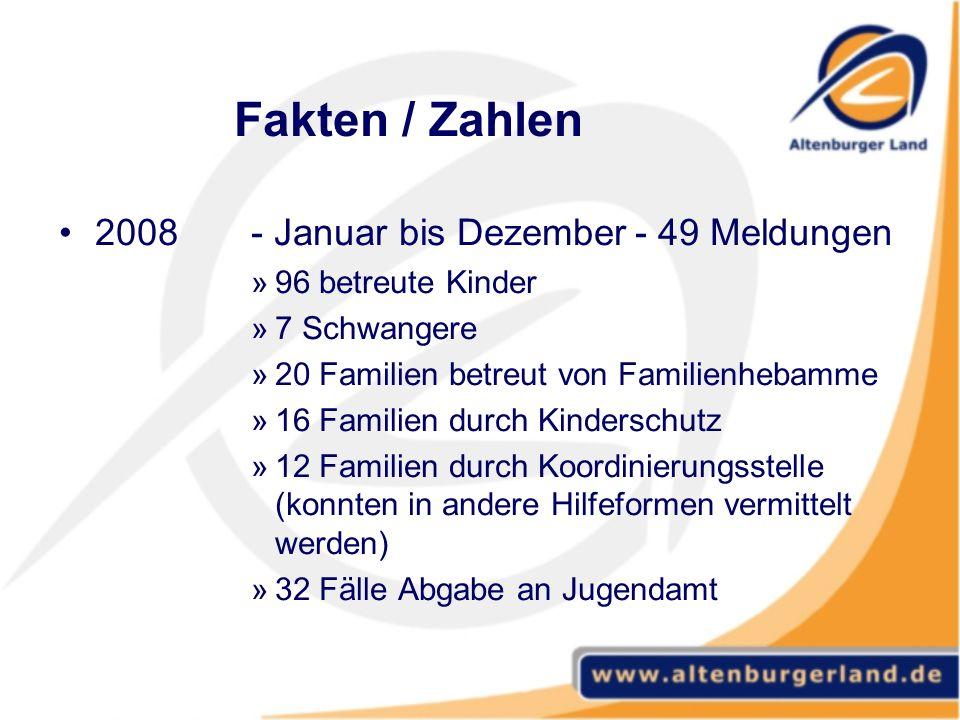 Fakten / Zahlen 2008 - Januar bis Dezember - 49 Meldungen