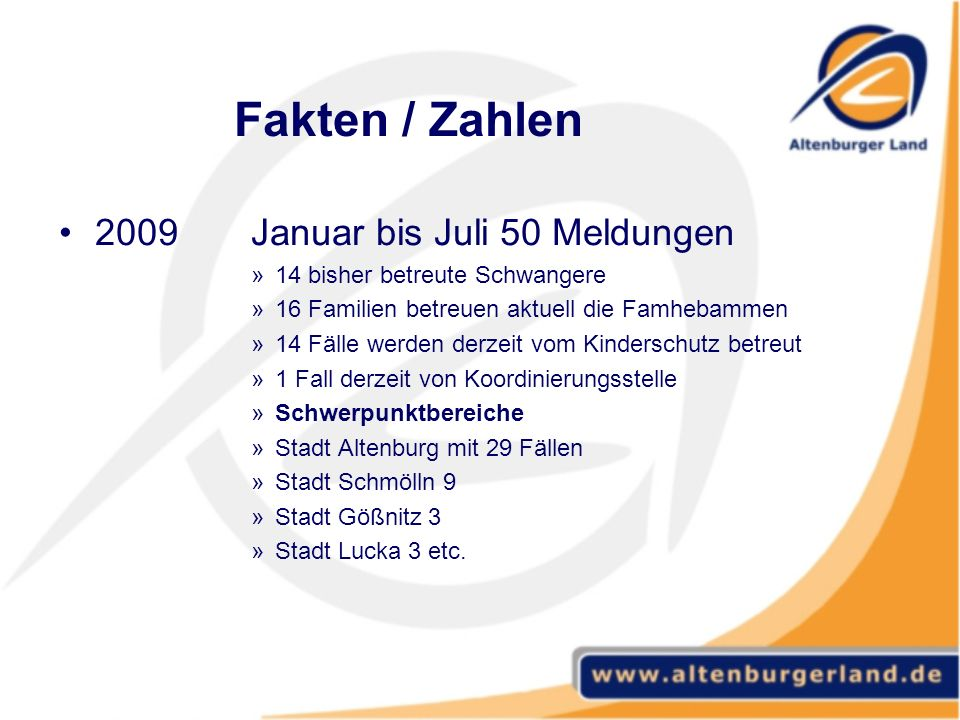 Fakten / Zahlen 2009 Januar bis Juli 50 Meldungen