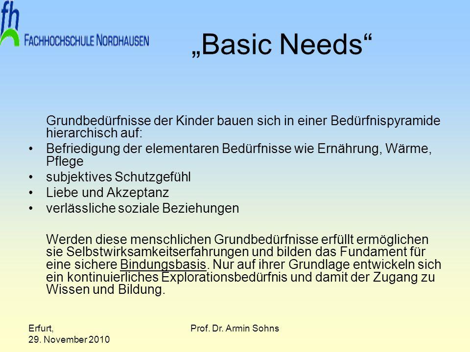 """""""Basic Needs Grundbedürfnisse der Kinder bauen sich in einer Bedürfnispyramide hierarchisch auf:"""