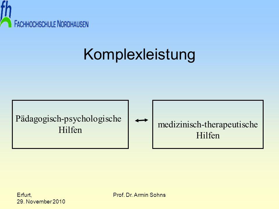 Komplexleistung Pädagogisch-psychologische medizinisch-therapeutische