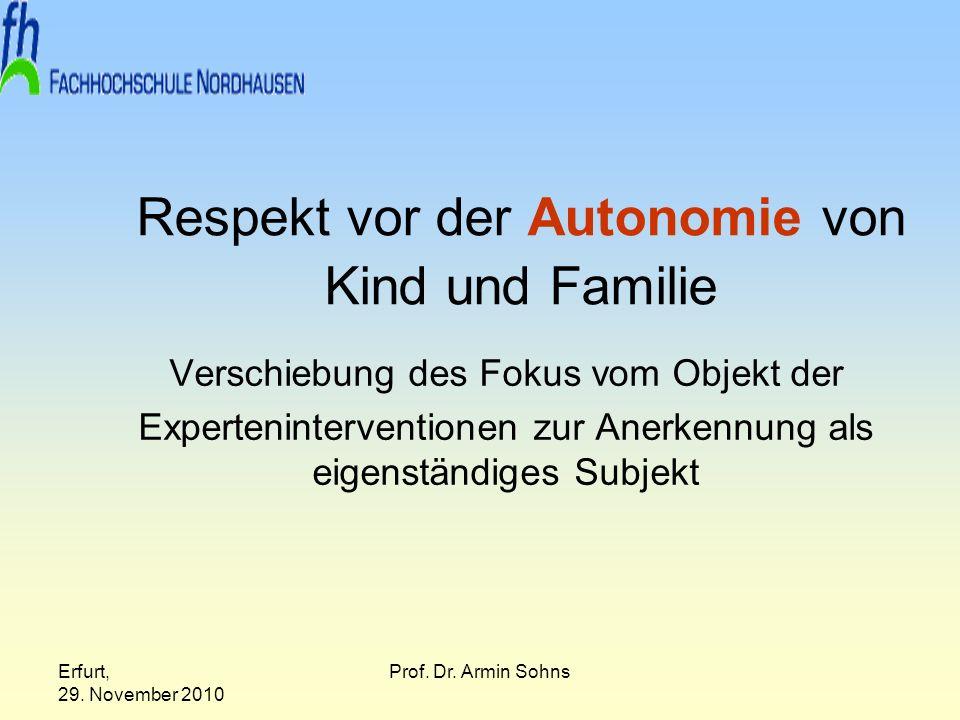 Respekt vor der Autonomie von Kind und Familie