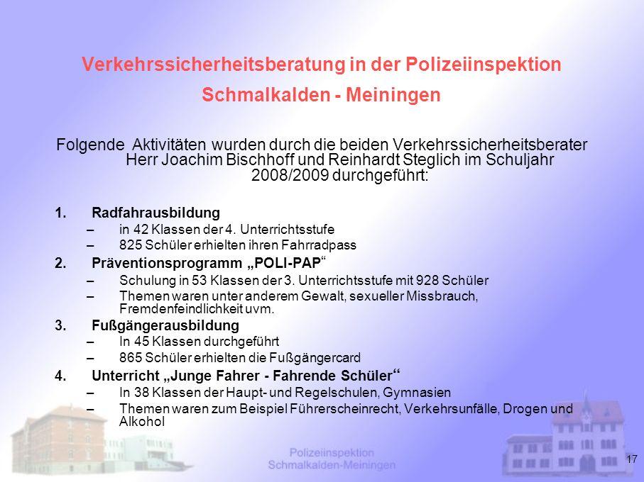 Verkehrssicherheitsberatung in der Polizeiinspektion Schmalkalden - Meiningen
