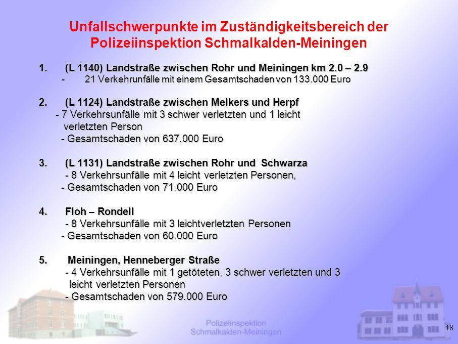 Unfallschwerpunkte im Zuständigkeitsbereich der Polizeiinspektion Schmalkalden-Meiningen