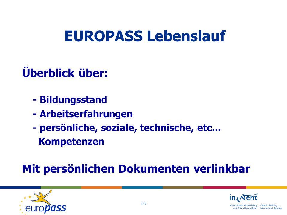 EUROPASS Lebenslauf Überblick über: - Bildungsstand