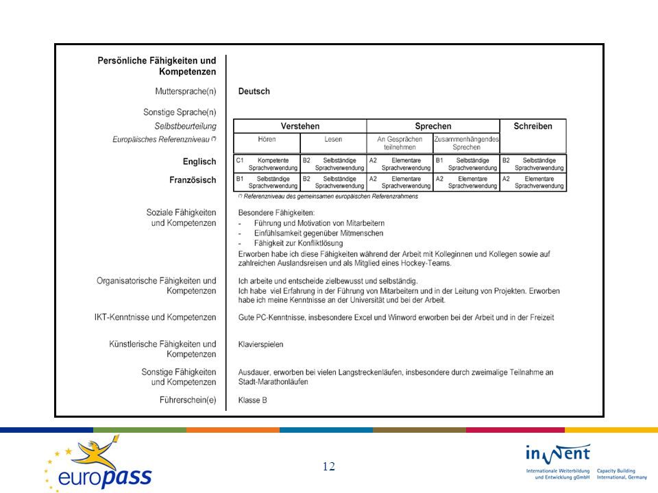 EUROPASS Lebenslauf 12