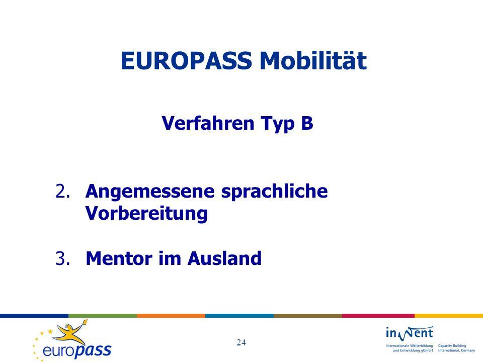 EUROPASS Mobilität Verfahren Typ B