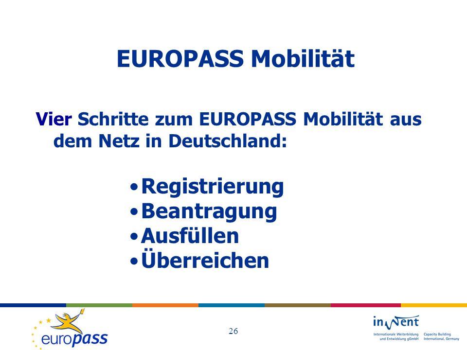 EUROPASS Mobilität Registrierung Beantragung Ausfüllen Überreichen