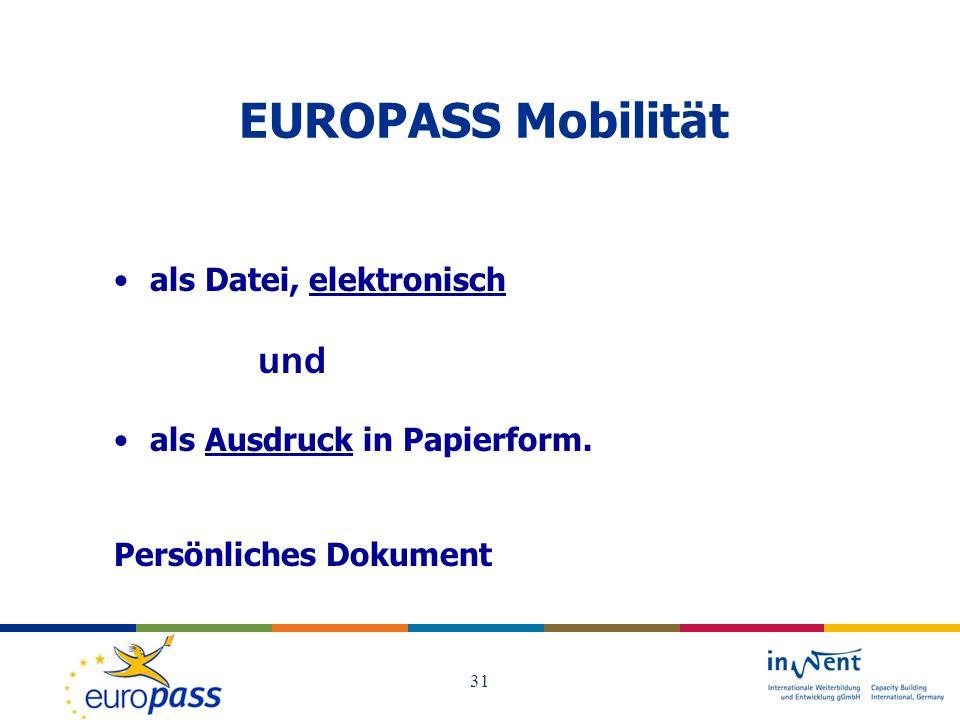 EUROPASS Mobilität und als Datei, elektronisch