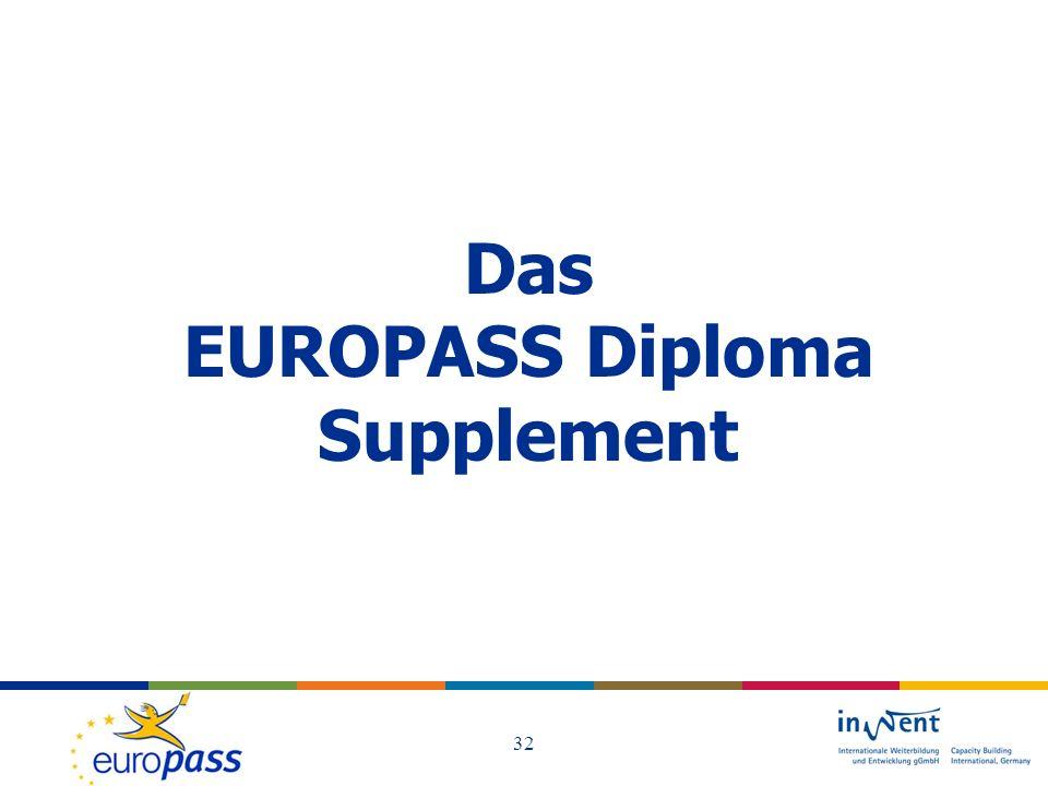 Das EUROPASS Diploma Supplement