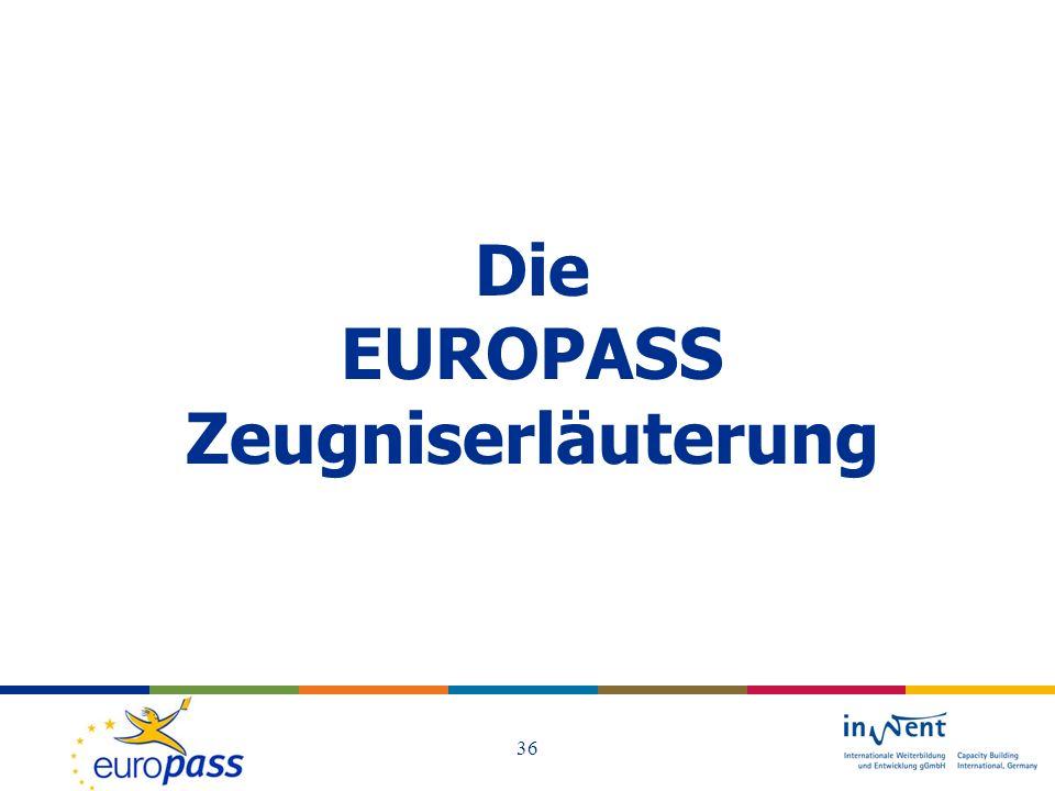 Die EUROPASS Zeugniserläuterung