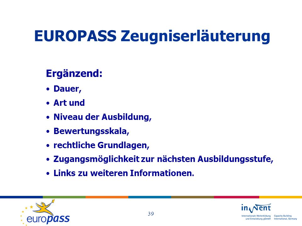 EUROPASS Zeugniserläuterung