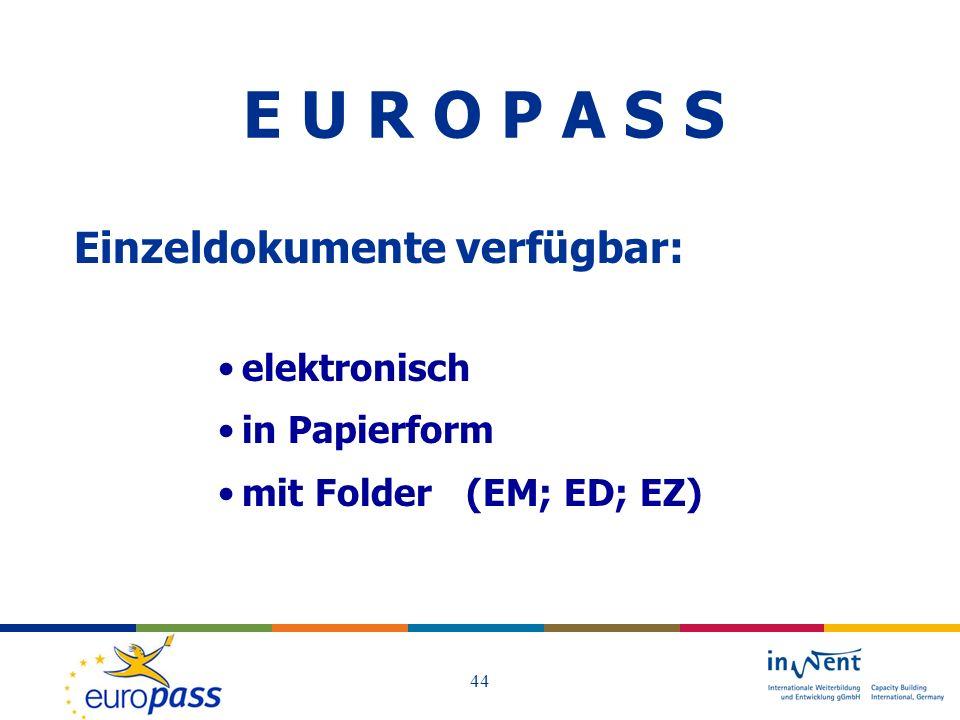 E U R O P A S S Einzeldokumente verfügbar: elektronisch in Papierform