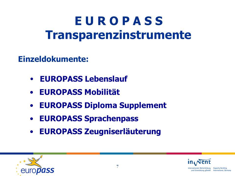 E U R O P A S S Transparenzinstrumente