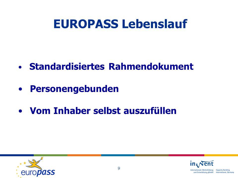 EUROPASS Lebenslauf Personengebunden Vom Inhaber selbst auszufüllen