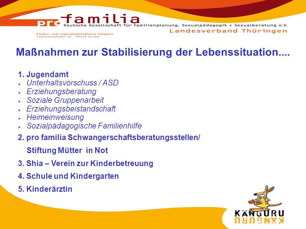 Maßnahmen zur Stabilisierung der Lebenssituation....