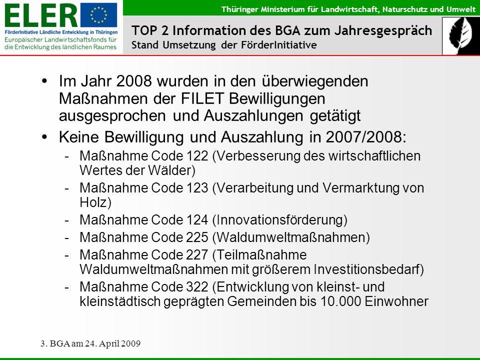 Keine Bewilligung und Auszahlung in 2007/2008:
