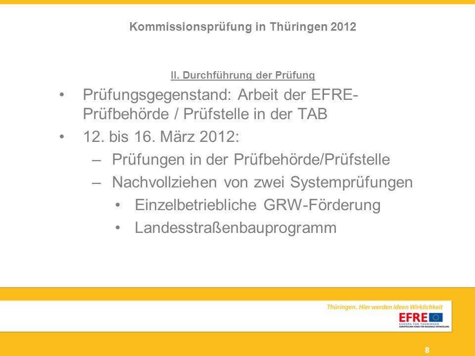 Kommissionsprüfung in Thüringen 2012 II. Durchführung der Prüfung