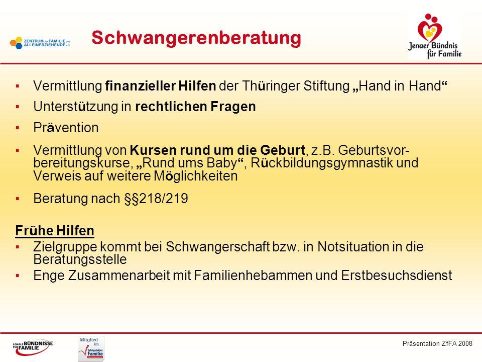 """Schwangerenberatung Vermittlung finanzieller Hilfen der Thüringer Stiftung """"Hand in Hand Unterstützung in rechtlichen Fragen."""