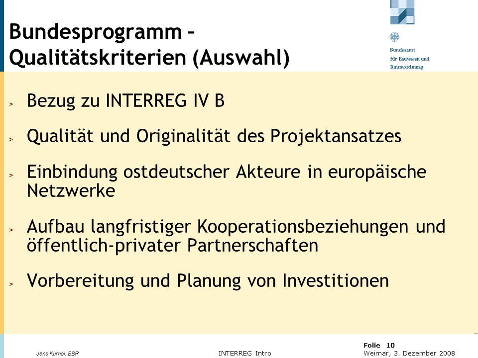 Bundesprogramm – Qualitätskriterien (Auswahl)