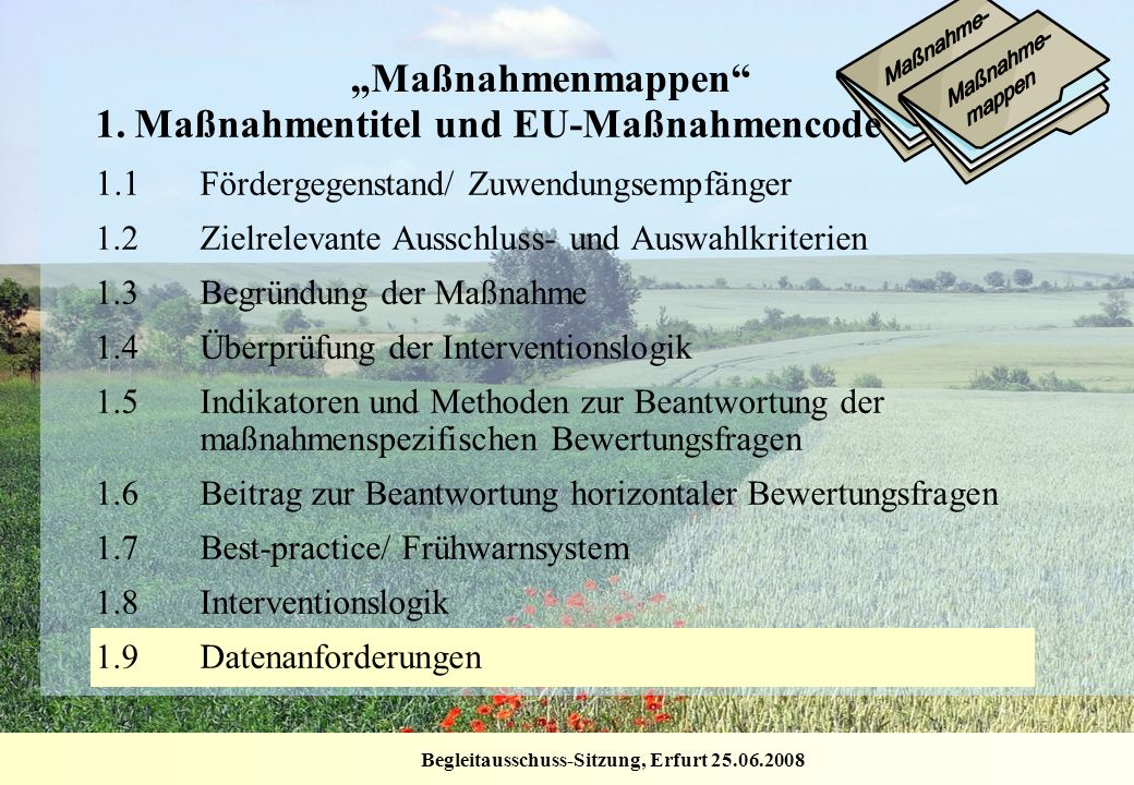 1. Maßnahmentitel und EU-Maßnahmencode