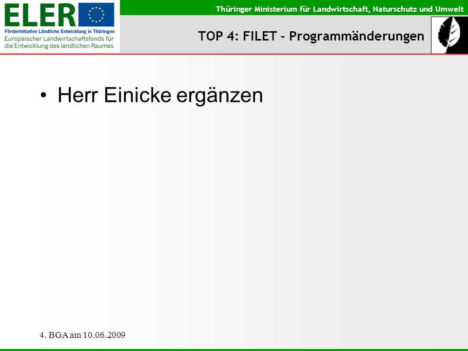 TOP 4: FILET - Programmänderungen