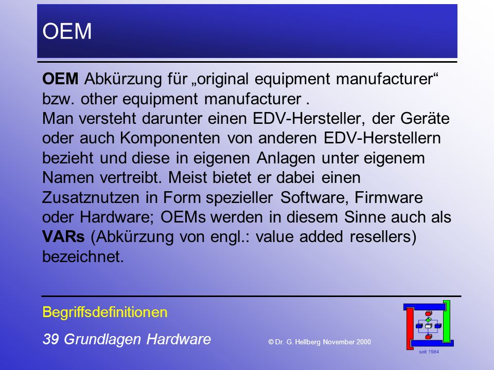 "OEM OEM Abkürzung für ""original equipment manufacturer"